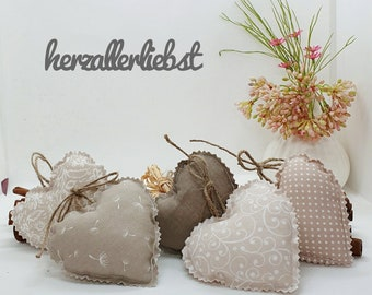 5 x hearts, approx. 10 x 10 cm beige - white, fabric heart, heart, country house, shabby, window decoration, kitchen decoration, decoration, Easter decoration, Easter wreath, door wreath,