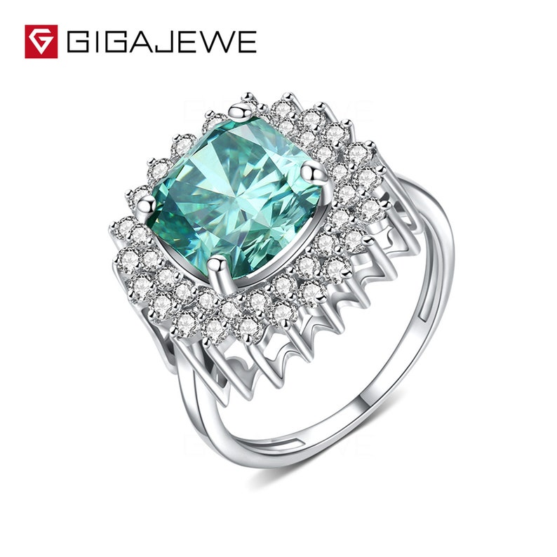 2.0CT Heart cut green color moissanite 925 Sterling Silver Ring Engagement Ring