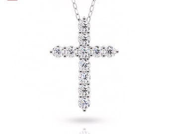 GIGAJEWE Total 1.1ct 3mmX11 Round Cut EF VVS1 Moissanite 925 Silver Diamond Test Passed Religious Cross Necklace