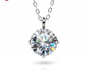 1.0ct 6.5mm DE Round 18K White Gold Plated 925 Silver Moissanite Charm Diamond Test Passed Bezel Charm Jewelry Woman Girl Gift