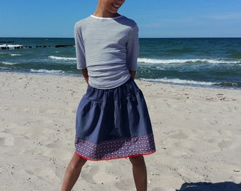 Skirt girl pigeon blue blue red