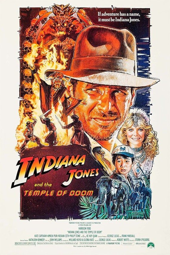 Indiana Jones Temple Of Doom 1984 Classic Movie Poster/Wall | Etsy