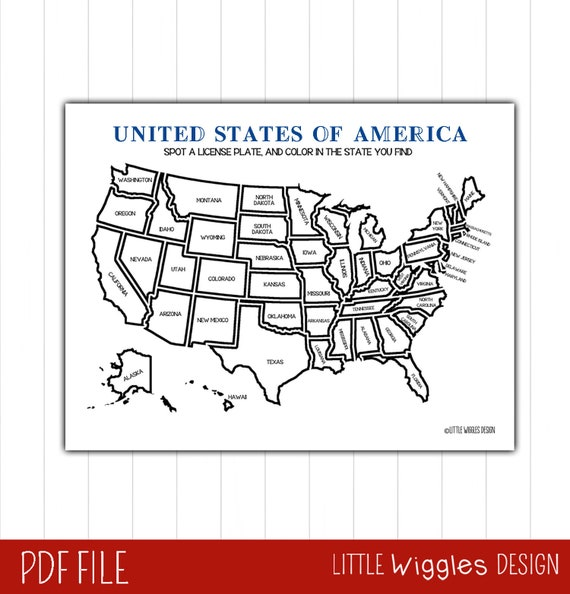 Usa Map State License Plate Game Printable Etsy