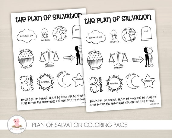 Plan Of Salvation Coloring Page Come Follow Me Lesson Etsy