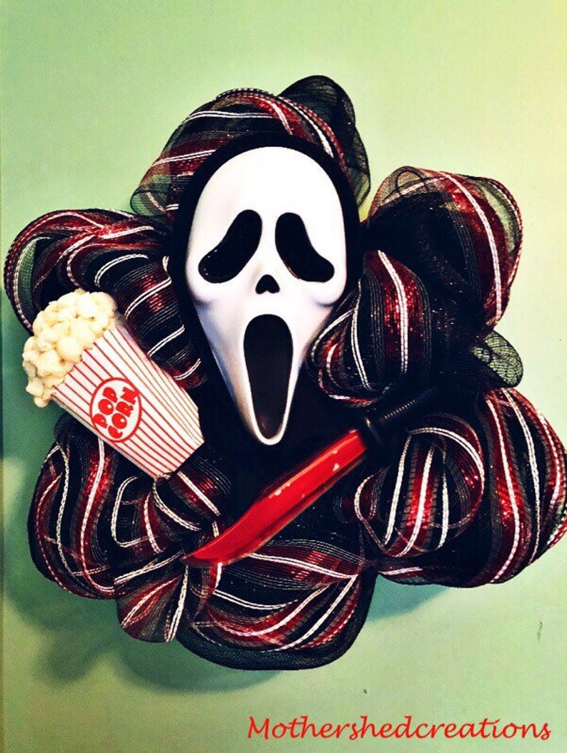 Custom Scream Wreath Choose props Ghost face wreath Halloween Wreath woodsboro murders horror wreath horror Decor Halloween Decor