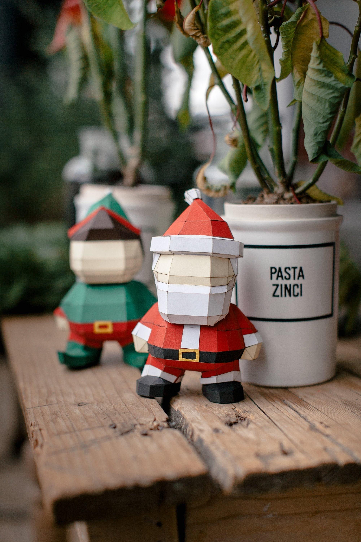 Diy Papercraft Digital Santa Pdf Kit Christmas Decor Etsy