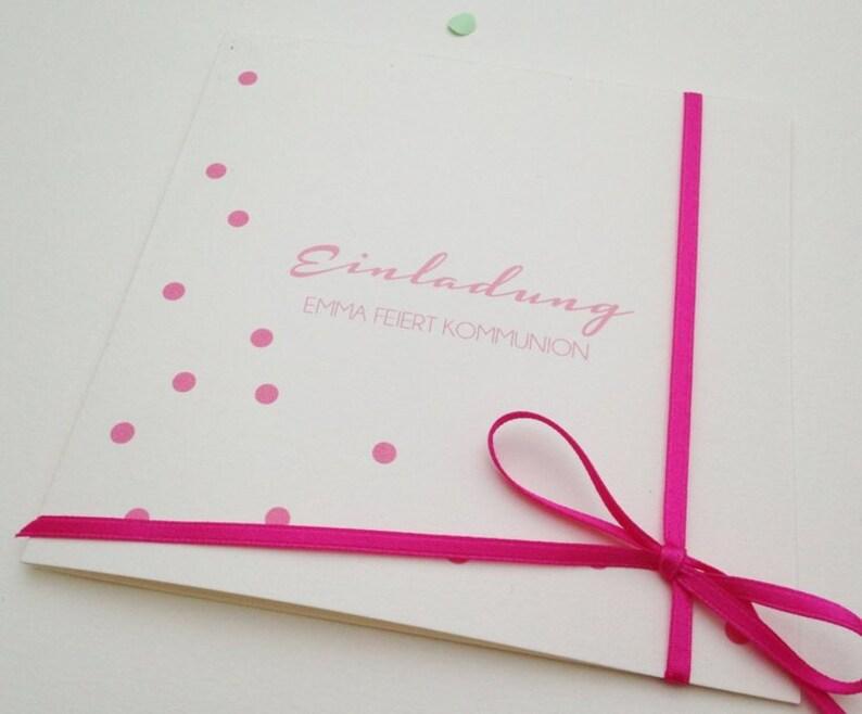 Invitation Card communion/baptism/Wedding Dots image 0