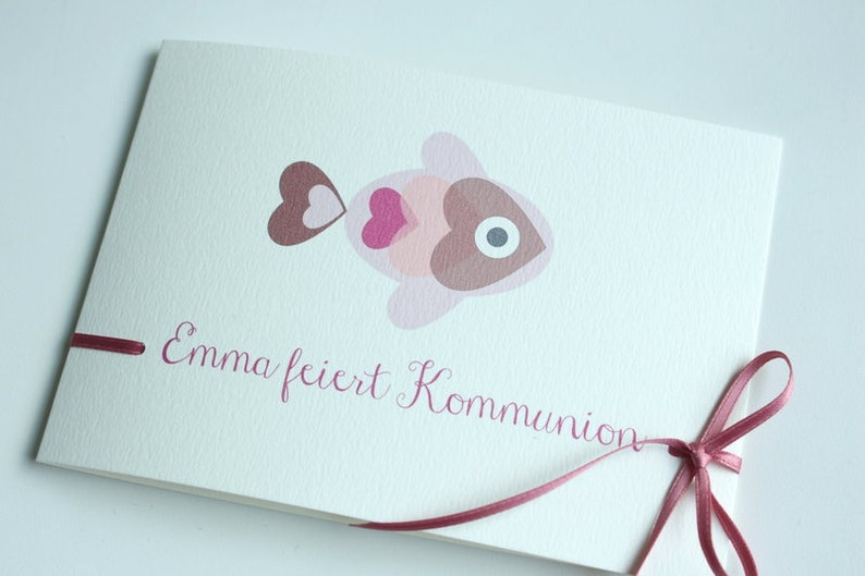 Invitation to Confirmation/Communion  HERZ. Fish image 0