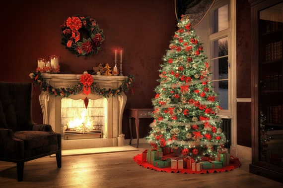 christmas with tree gifts themes background night backdrop etsy christmas with tree gifts themes background night backdrop vinyl printed 10x10 backdrops for photography digital party wall fireplace jhgb36