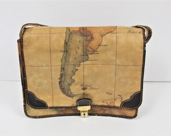 Alviero Martini Leather Map - Shoulder Bag - Vintage - Made in Italy -  Crossbody 72097efe81fb