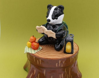 Badger Jewellery Box Forest Wood Animals Decoration Autumn Fall Polymer Clay Figurine