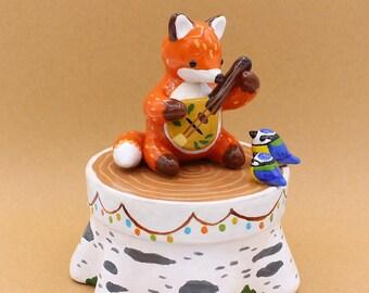 Fox Jewellery Box Forest Wood Animals Decoration Autumn Fall Polymer Clay Figurine