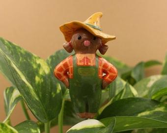 Scarecrow Flower Pot Plant Plug Halloween Autumn Fall Decor Polymer Clay
