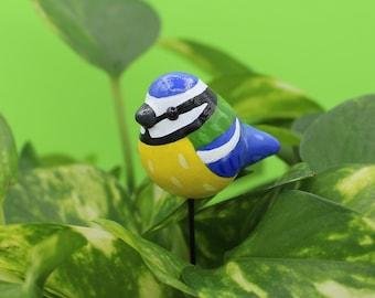 Blue Tit Plant Plug Flower Pot Garden Decor Polymer Clay Animal