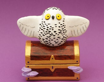 Owl Jewellery Holder Treasure Chest Magic Witchcraft Decoration Polymer Clay Figurine