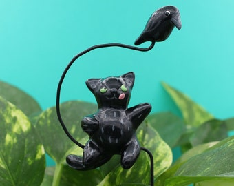 Black Cat Plant Plug Flower Pot Decor Crow Halloween Witch Polymer Clay Ornament