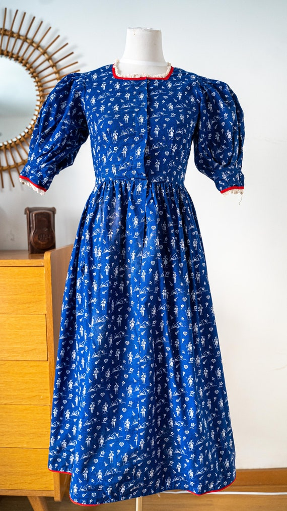1930's VINTAGE french handmade cotton dress Dirdl