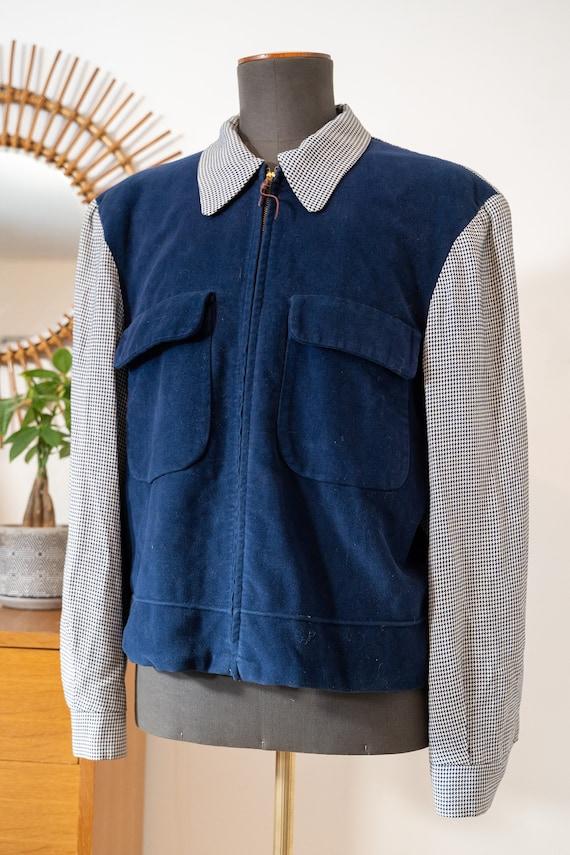 Vintage 1940s 1950s Men's jacket * two tone ricky