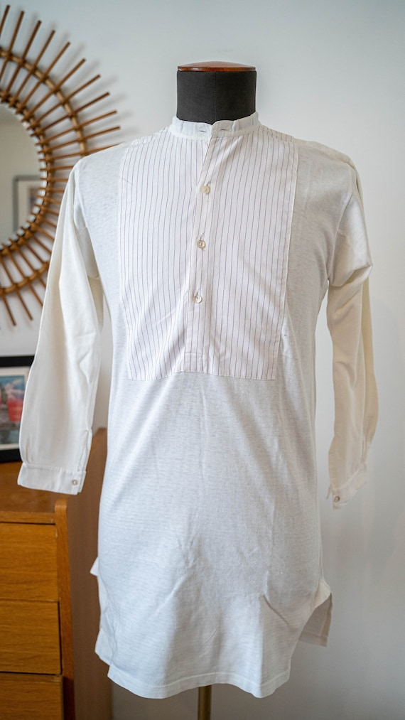 1920s-1930s French bib shirt pull over shirt colla