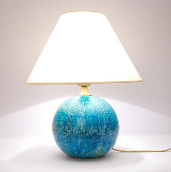 Ceramic Lamp Large Turquoise Ball, Turquoise Ceramic Lamp