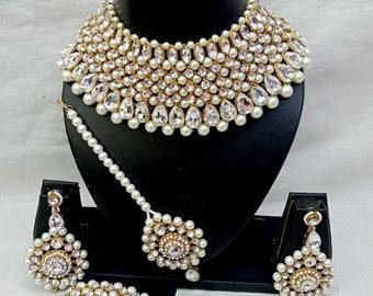Purple Colour Asian Pakistani Indian Beautiful Wedding Jewellery Set Crystal Sets Jewellery & Watches