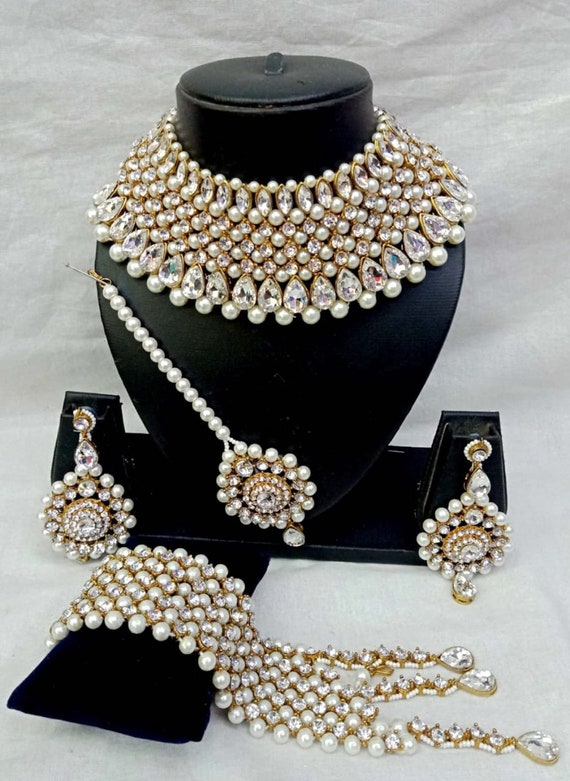Bollywood Indian Fashion Jewelry Pearl Crystal Gold Plated Etsy