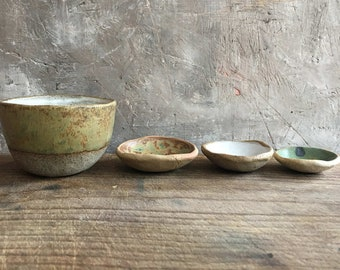 4 ceramic bowls pinchbowls clay handmade foodstyling spice bowl set unique