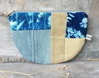 Bag plant print Cyanoypie unique jeans upcycling nature