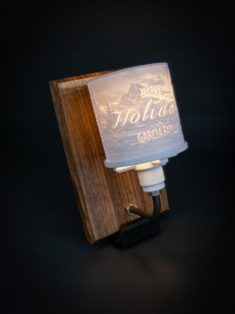 Personalized Lithophane LED Table Lamp with Wood Base