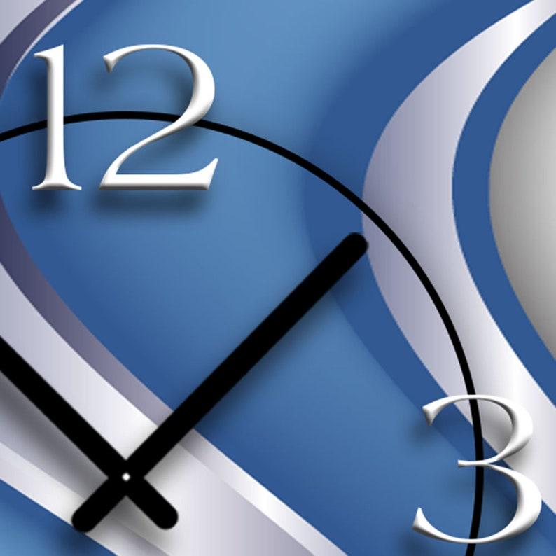 Abstrait bleu argent épuré mur design horloges murales modernes conception calme pas tic-tac dixtime 3D-0024