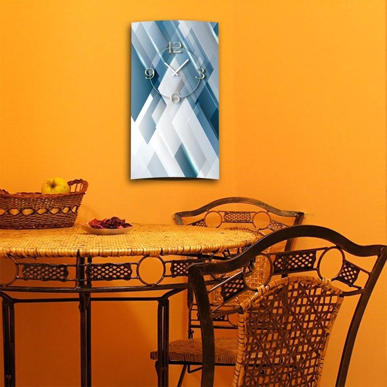 Abstrait bleu gris gris design mur design conception moderne horloge murale calme pas tic-tac dixtime 3D-0176