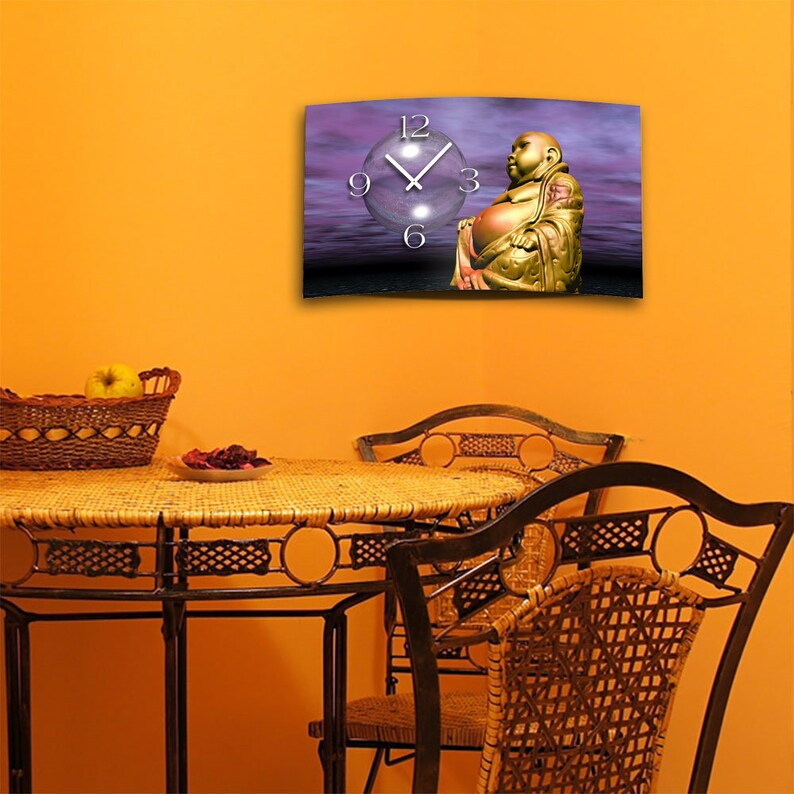 Digital Designer Art Buddha Designer Wall Horloges murales modernes Conception calme No Tick DIXTIME 3D-0398