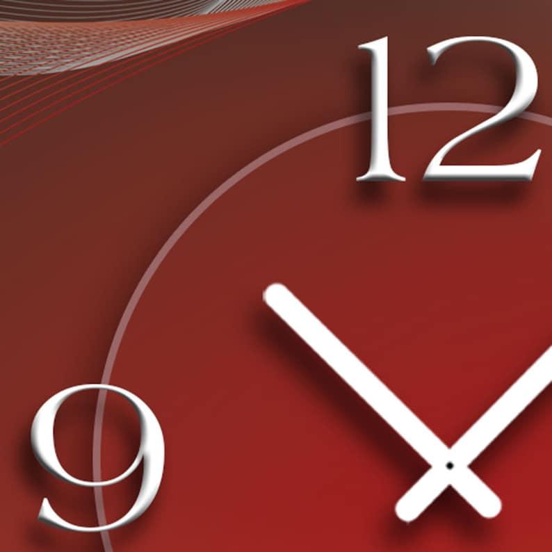 Abstrait rouge gris mur design horloge murale moderne horloges murales conception calme pas tic-tac dixtime 3D-0145