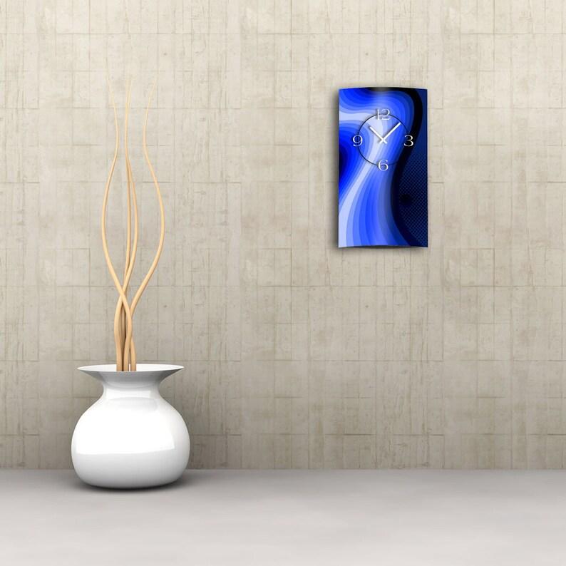 Abstrait Rétro Blue Designer Wall Clock Modern Wall Clocks Design Quiet No Tick dixtime 3D-0052