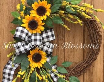 Blessed Burlap Sunflower Wreath Sunflower Fall Wreath Sunflower Fall Wreath