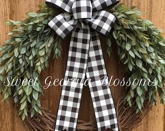 Everyday Greenery Grapevine Wreath, Farmhouse Wreath, Greenery Wreath, Buffalo Check Ribbon, Rustic Wreath, Year Round Farmhouse Wreath