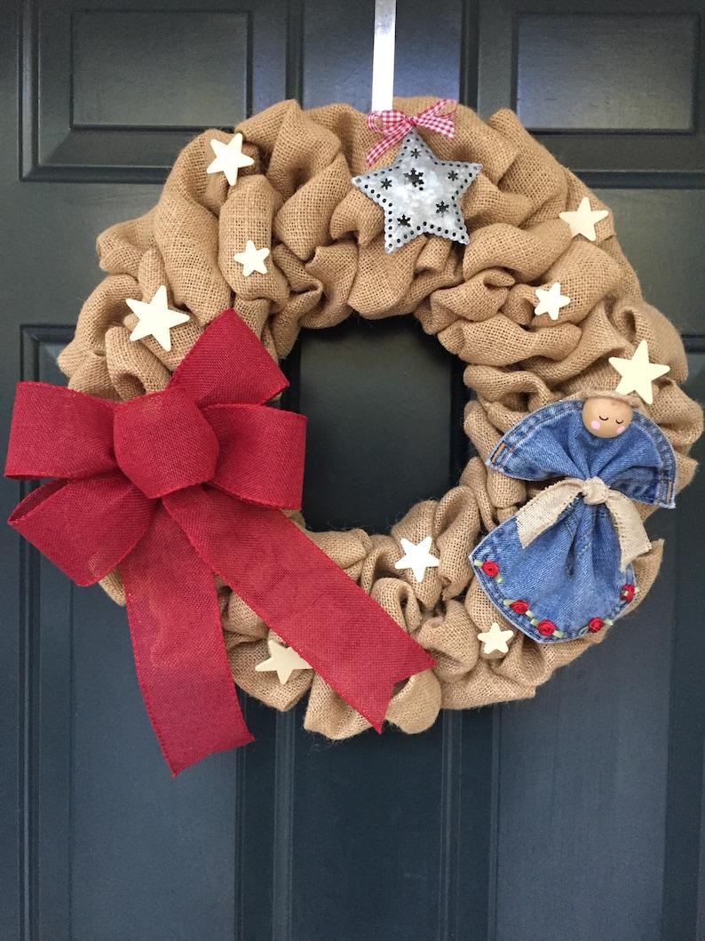 Angel Wreath Christmas Angel Burlap Wreath Country Christmas Burlap Wreath with Angel and Metal Star Ornament Rustic Christmas Wreath