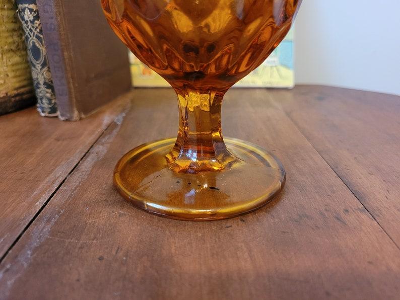 Vintage 1970s Decor Mid Century Fenton Colonial Thumbprint Handkerchief Vase in Amber Glass