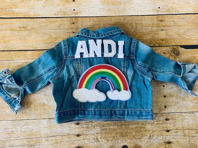 Personalized Denim Jacket Personalized Jean Jacket Girls Denim Jacket Toddler Jean Jacket Rainbow Jacket Baby Denim Jacket