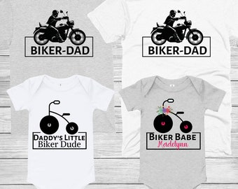 b6b0dd3ac BIKER DAD And Baby Matching Shirts-Matching Daddy Daughter Son -Infant  Bodysuit Dad And Kids Shirts- Harley Davidson Biker Matching Shirts