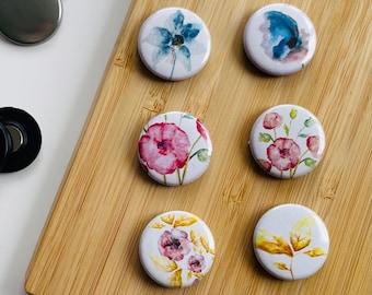 Set - Romantic Flowers 2 - Magnet / Button