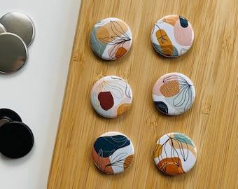 Set - geometric flowers - Magnet / Button