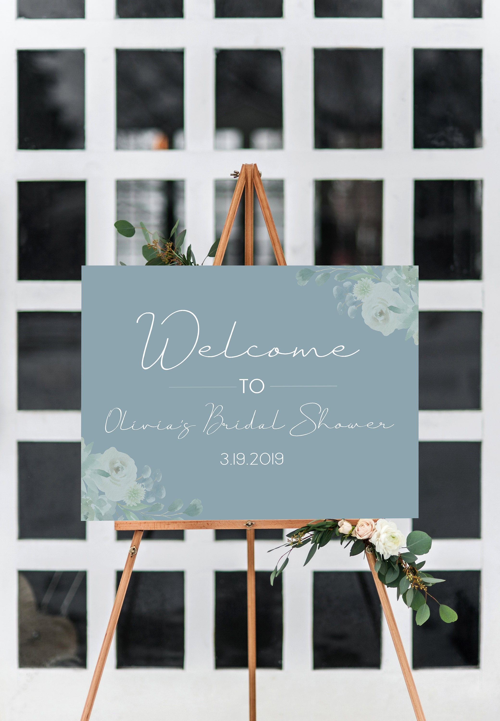 Blue Floral Bridal Shower Signs Rustic Bridal Shower Editable Sign Dusty Blue Advice Sign Template Printable Sign Instant Download- BD93