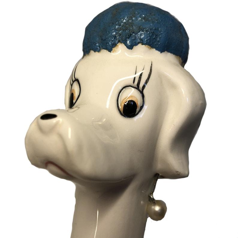 Vintage Lanky Poodle with Pearl Earrings