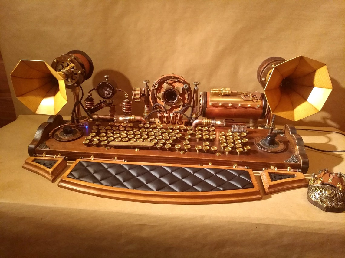 Set of steampunk keyboard mouse speakers and camera image 0