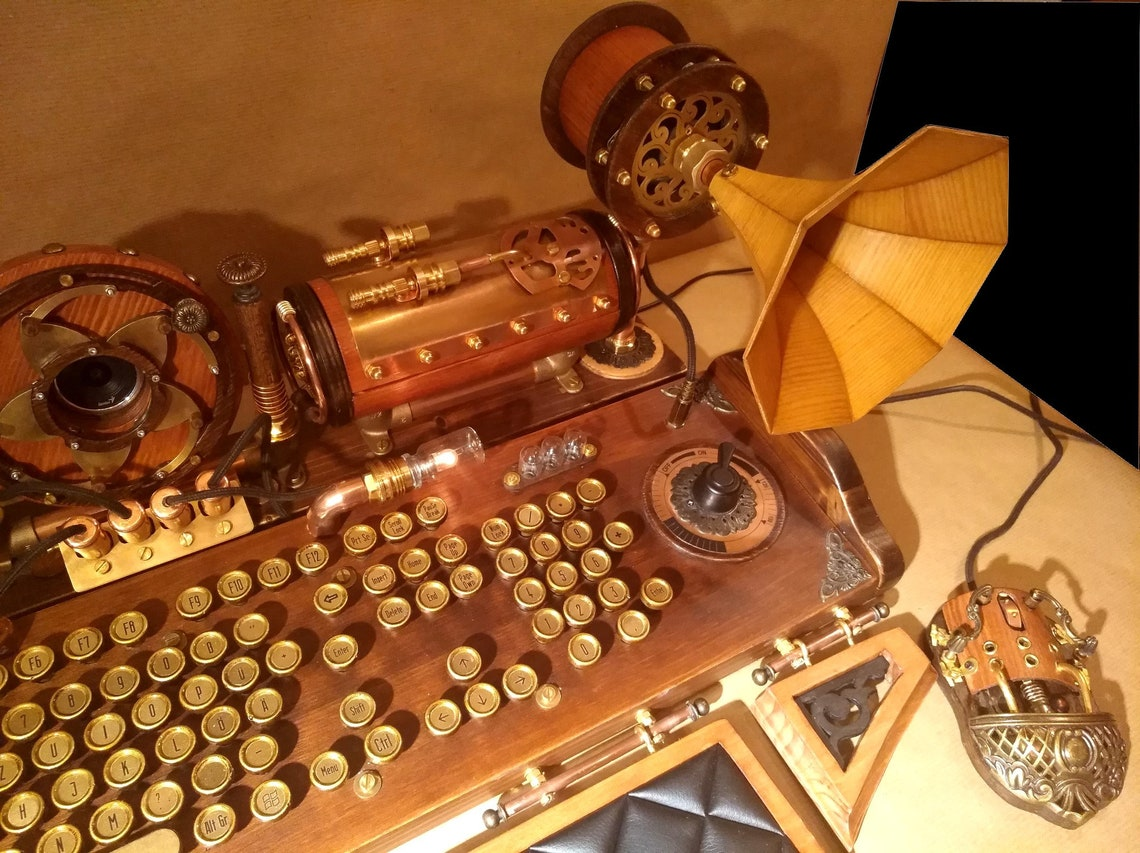 Set of steampunk keyboard mouse speakers and camera image 6