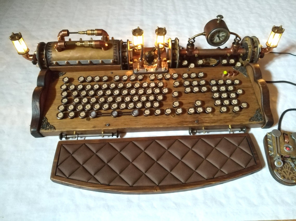Set of steampunk vintage look with aged effects keyboard image 8