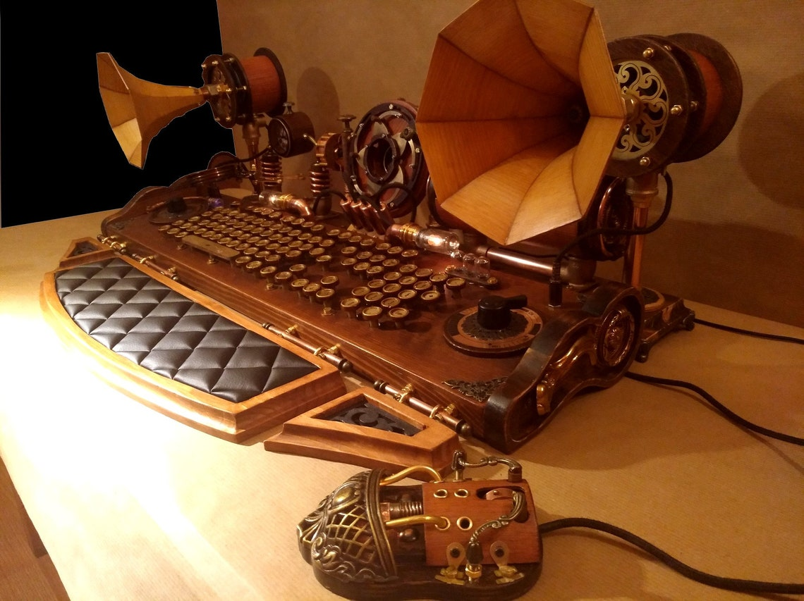 Set of steampunk keyboard mouse speakers and camera image 7