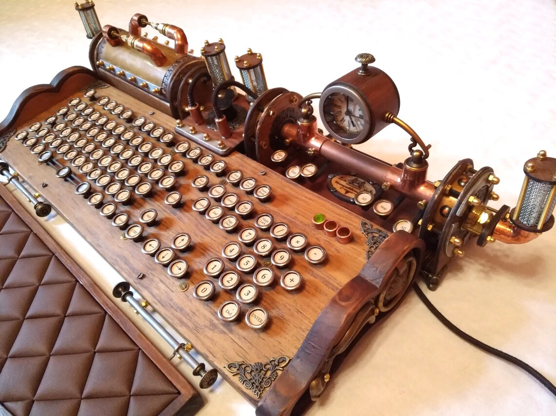 Set of steampunk vintage look with aged effects keyboard image 4