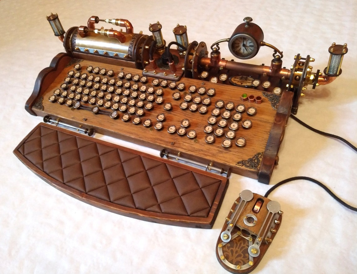 Set of steampunk vintage look with aged effects keyboard image 0